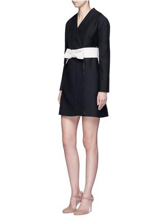 Figure View - Click To Enlarge - Valentino - Kimono wrap wool-silk A-line dress