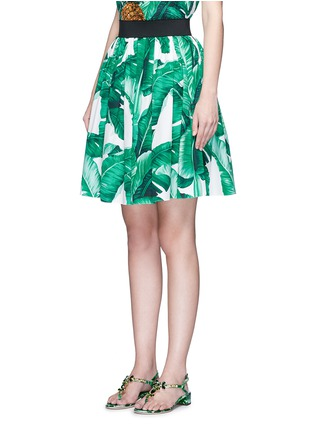 Front View - Click To Enlarge - Dolce & Gabbana - Banana leaf print poplin circle skirt