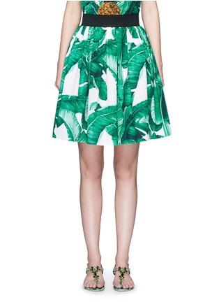 Main View - Click To Enlarge - Dolce & Gabbana - Banana leaf print poplin circle skirt