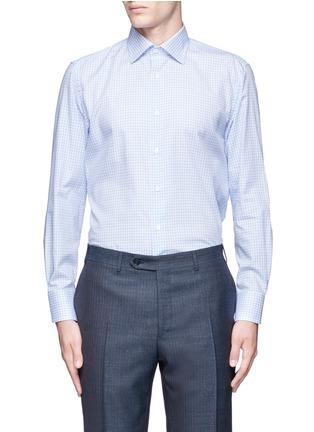 Main View - Click To Enlarge - Canali - Check cotton poplin shirt