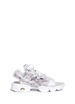 Main View - Click To Enlarge - Reebok - 'Instapump Fury' marble print sandals