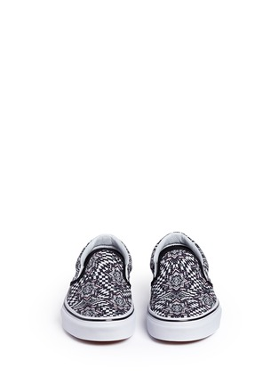 Front View - Click To Enlarge - VANS - 'Checker Kaleidoscope Classic' canvas skate slip-ons