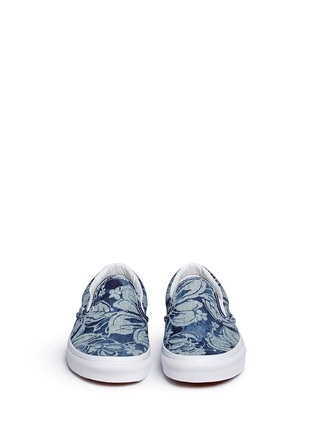Front View - Click To Enlarge - Vans - 'Indigo Tropical Classic' denim skate slip-ons