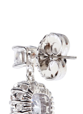 Detail View - Click To Enlarge - CZ by Kenneth Jay Lane - Halo cushion cut cubic zirconia drop earrings