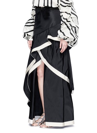 Front View - Click To Enlarge - 73052 - 'Julio Verne' suede bow belt silk taffeta skirt