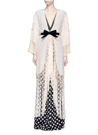 Main View - Click To Enlarge - Johanna Ortiz - 'Cervantes' floral embroidered shawl coat and bodysuit set