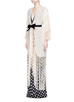 Figure View - Click To Enlarge - Johanna Ortiz - 'Cervantes' floral embroidered shawl coat and bodysuit set