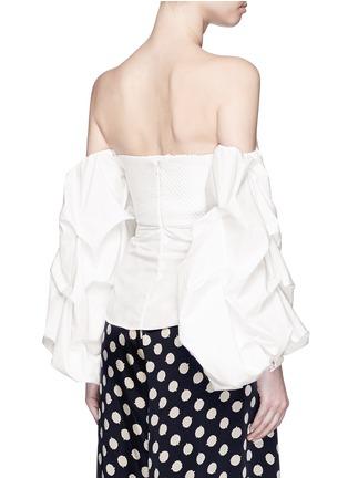 Back View - Click To Enlarge - Johanna Ortiz - 'Fedra' off-shoulder sash tie cropped top