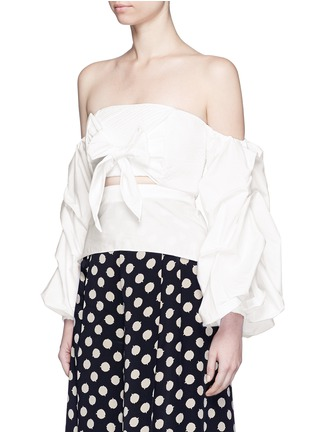 Front View - Click To Enlarge - Johanna Ortiz - 'Fedra' off-shoulder sash tie cropped top