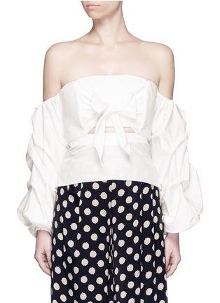 Main View - Click To Enlarge - Johanna Ortiz - 'Fedra' off-shoulder sash tie cropped top