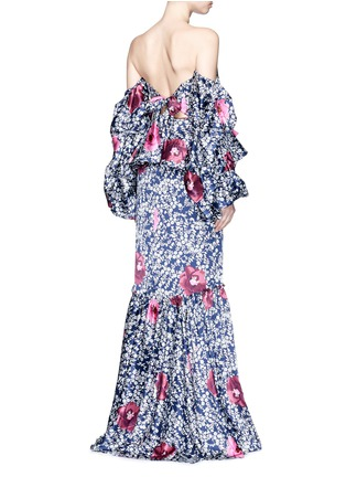 Back View - Click To Enlarge - Johanna Ortiz - 'A Hundred Years of Solitude' floral print off-shoulder gown
