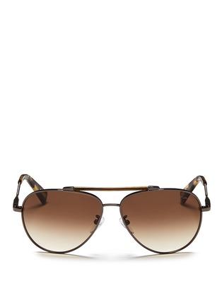 Main View - Click To Enlarge - Lanvin - Wrapped top bar screw edge metal aviator sunglasses