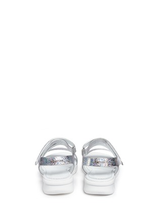 Back View - Click To Enlarge - Moncler - 'Micheline' holographic metallic leather strappy sandals