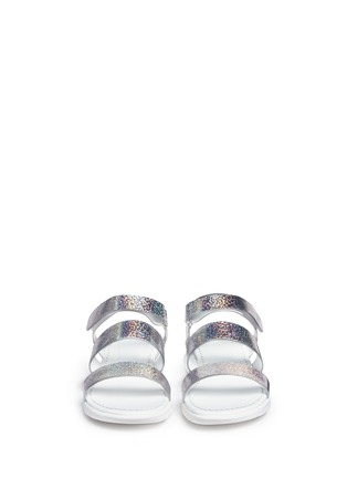 Front View - Click To Enlarge - Moncler - 'Micheline' holographic metallic leather strappy sandals