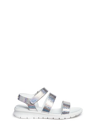 Main View - Click To Enlarge - Moncler - 'Micheline' holographic metallic leather strappy sandals