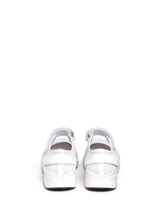 Back View - Click To Enlarge - Moncler - 'Claudine' strap mesh leather sneakers
