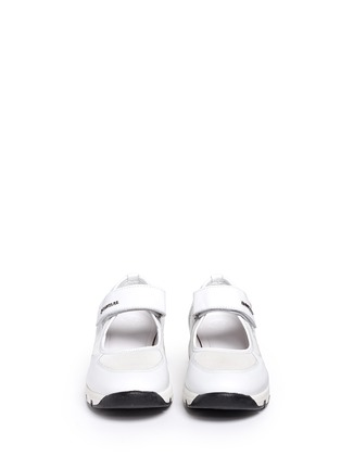 Front View - Click To Enlarge - Moncler - 'Claudine' strap mesh leather sneakers