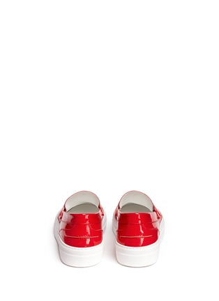 Back View - Click To Enlarge - Moncler - 'New Roseline' patent leather flatform loafers