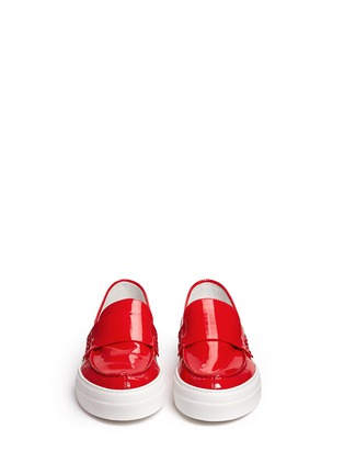 Front View - Click To Enlarge - Moncler - 'New Roseline' patent leather flatform loafers