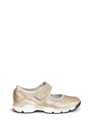 Main View - Click To Enlarge - Moncler - 'Claudine' textile strap metallic leather sneakers
