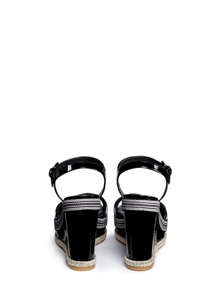 Back View - Click To Enlarge - Stuart Weitzman - 'Synonym' stripe patent leather wedge sandals