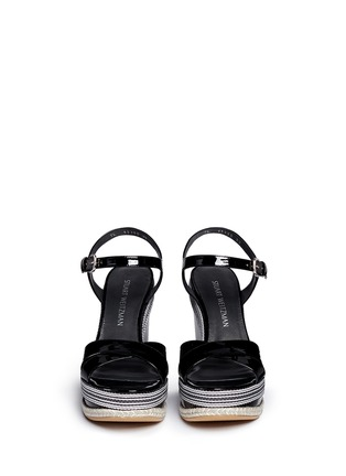 Front View - Click To Enlarge - Stuart Weitzman - 'Synonym' stripe patent leather wedge sandals