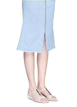 Figure View - Click To Enlarge - STUART WEITZMAN - 'Flecha' bar chain T-strap wedge sandals