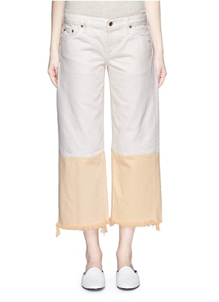 Detail View - Click To Enlarge - Simon Miller - 'Tazo' colourblock frayed wide leg cropped jeans