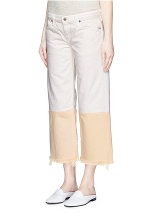 Front View - Click To Enlarge - Simon Miller - 'Tazo' colourblock frayed wide leg cropped jeans