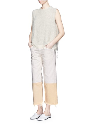 Figure View - Click To Enlarge - Simon Miller - 'Tazo' colourblock frayed wide leg cropped jeans