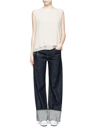Figure View - Click To Enlarge - Simon Miller - 'Attoyac' double layer raw hem muscle top