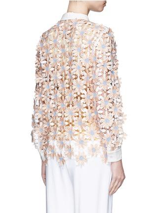 Back View - Click To Enlarge - Chictopia - Poplin trim floral lace appliqué shirt