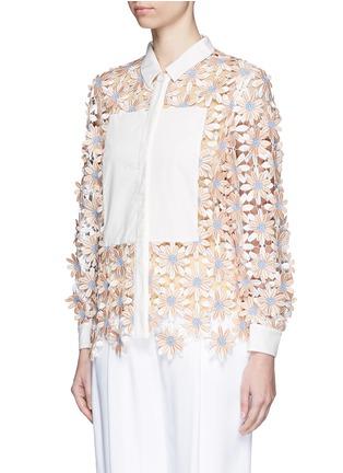 Front View - Click To Enlarge - Chictopia - Poplin trim floral lace appliqué shirt