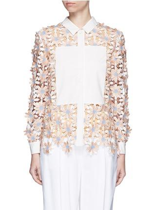 Main View - Click To Enlarge - Chictopia - Poplin trim floral lace appliqué shirt