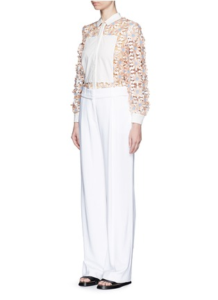 Figure View - Click To Enlarge - Chictopia - Poplin trim floral lace appliqué shirt