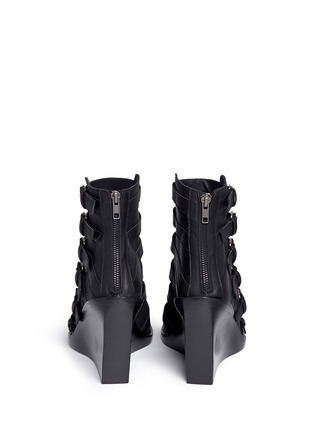 Back View - Click To Enlarge - ANN DEMEULEMEESTER SHOES - Buckle leather wedge sandal boots