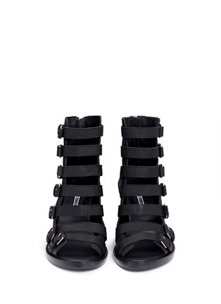 Front View - Click To Enlarge - ANN DEMEULEMEESTER SHOES - Buckle leather wedge sandal boots