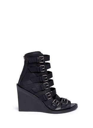 Main View - Click To Enlarge - ANN DEMEULEMEESTER SHOES - Buckle leather wedge sandal boots
