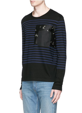 Front View - Click To Enlarge - Alexander McQueen - Floral print pocket sailor stripe T-shirt