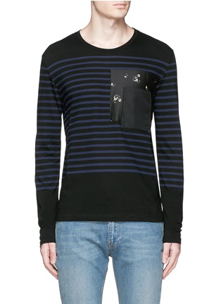Main View - Click To Enlarge - Alexander McQueen - Floral print pocket sailor stripe T-shirt
