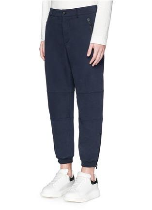 Front View - Click To Enlarge - Alexander McQueen - Zip cuff organic cotton sweatpants