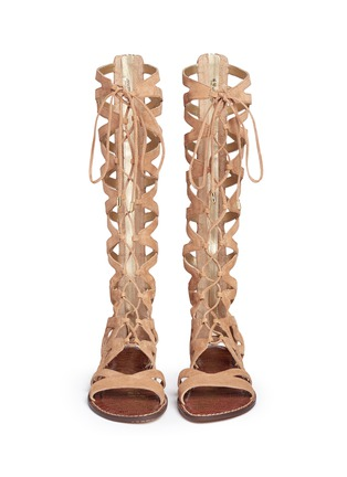 Front View - Click To Enlarge - Sam Edelman - 'Gena' lace-up suede gladiator sandals