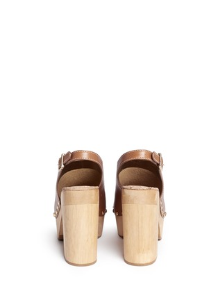 Back View - Click To Enlarge - Sam Edelman - 'Marley' leather slingback wooden clog sandals