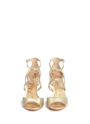 Front View - Click To Enlarge - Sam Edelman - 'Aeryn' metallic leather strappy sandals