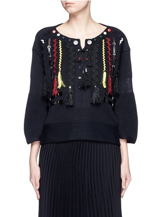 Main View - Click To Enlarge - TOGA ARCHIVES - Faux leather wavy embroidery sweater