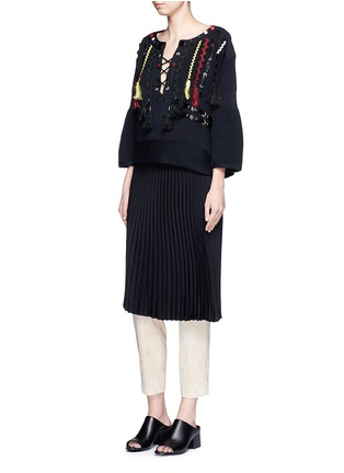 Figure View - Click To Enlarge - TOGA ARCHIVES - Faux leather wavy embroidery sweater