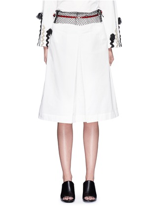 Main View - Click To Enlarge - TOGA ARCHIVES - Mesh waist cotton taffeta culottes