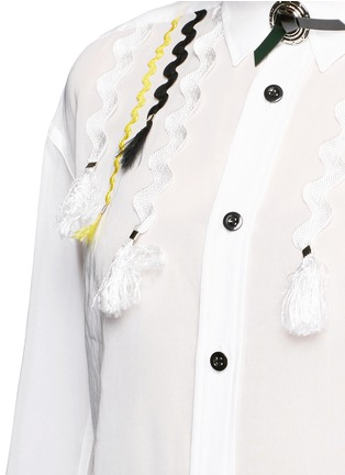 Detail View - Click To Enlarge - TOGA ARCHIVES - Wavy embroidery cotton voile shirt