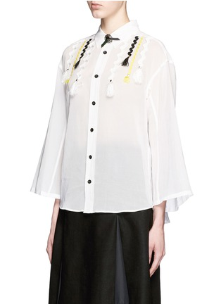 Front View - Click To Enlarge - TOGA ARCHIVES - Wavy embroidery cotton voile shirt