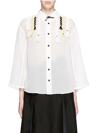 Main View - Click To Enlarge - TOGA ARCHIVES - Wavy embroidery cotton voile shirt